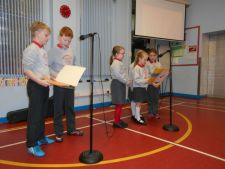 P3 and 4 promoting a clean environmental school during assembly